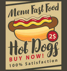 Fast food menu with hot dog vector