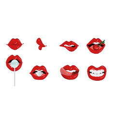 female lips set of different gestures isolated on vector image