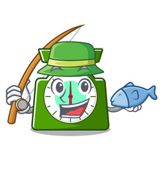 Fishing kitchen scale mascot cartoon vector