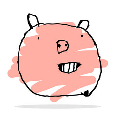 free hand drawing of happy pig vector image