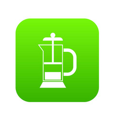 french press coffee maker icon digital green vector image