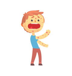 Frightened boy character with a rash on his body vector