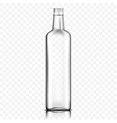 Front view empty transparent glass bottle vector