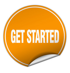 Get started round orange sticker isolated on white vector