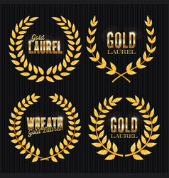 gold laurel set shine wreath award design vector image