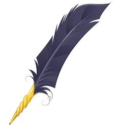 Golden quill pen vector