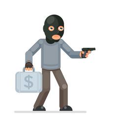 Gun armed robbery stole money suitcase evil vector