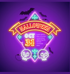 halloween rhombic neon sign with ribbon vector image