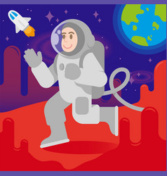 happy astronaut on mars vector image