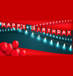 happy birthday design with lamp and balloon box vector image
