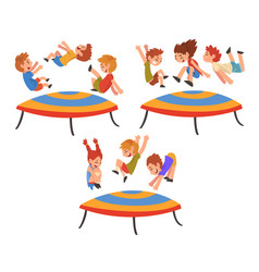 happy kids jumping on trampoline set smiling vector image