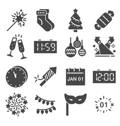 happy new year icons set vector image