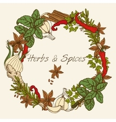Herbs And Spices Round Frame vector image