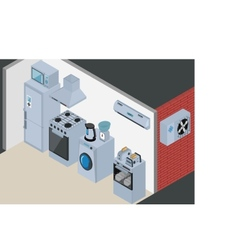 Household Icons appliances Isometric Kitchen vector image