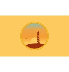 Landscape lightshouse at sunset silhouettes vector