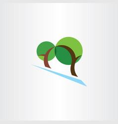 Landscape logo trees park eco symbol vector