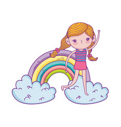 Little girl in the clouds with rainbow vector