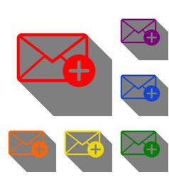 mail sign with add mark set of red vector image