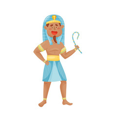 Man in traditional skirt pharaoh vector