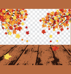 Maple leaves on transparency grid vector