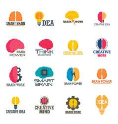 Mind brain icon set flat style vector