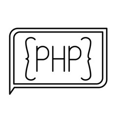 Monochrome silhouette of rectangle text php vector