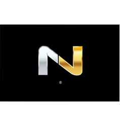 N silver gold letter alphabet logo icon design vector