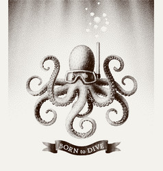 octopus wearing a mask for diving under water vector image