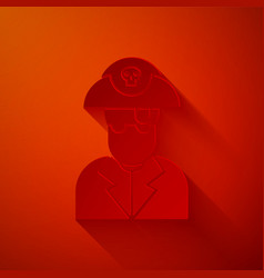 Paper cut pirate captain icon isolated on red vector