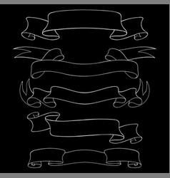 paper or ribbon scrolls outline set of vector image