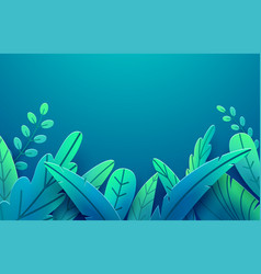 Paper spring leaves border paper cut style vector