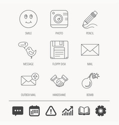 Photo camera pencil and handshake icons vector