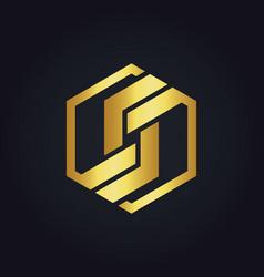 Polygon shape technology gold logo vector