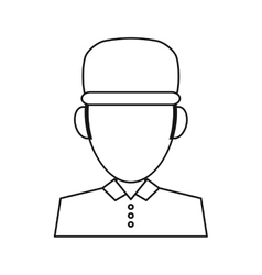 Portrait delivery pizza boy outline vector