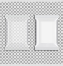 realistic food snack pillow bags mock up vector image