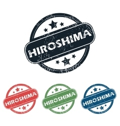 Round Hiroshima city stamp set vector
