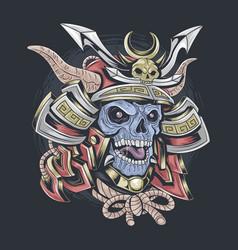 samurai skull wearing samurai helmet vector image