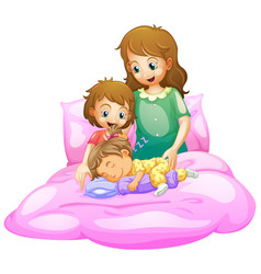 Scene with mother and kids sleeping in bed vector