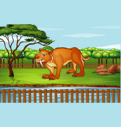 Scene with sabertooth in park vector