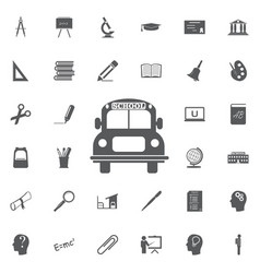 School bus icon education set vector