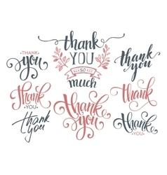 Set custom thank you hand lettering vector