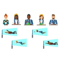 Set of business character and people gaming vector