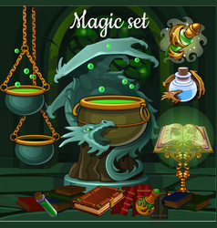 Set of objects for witchcraft vector