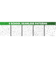set of school seamless pattern in black and white vector image
