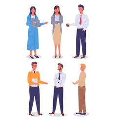 set office staff different links women and vector image