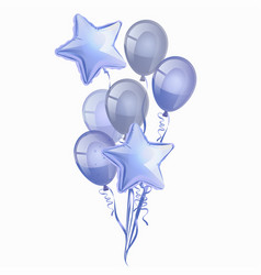 Set realistic glossy blue balloons isolated vector