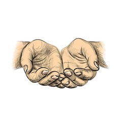 sketch begging hands vector image