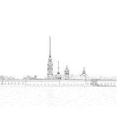Sketch peter and paul fortress vector