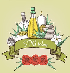 Spa salon poster with ribbon vector image