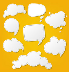 Speech bubble set with yellow background vector